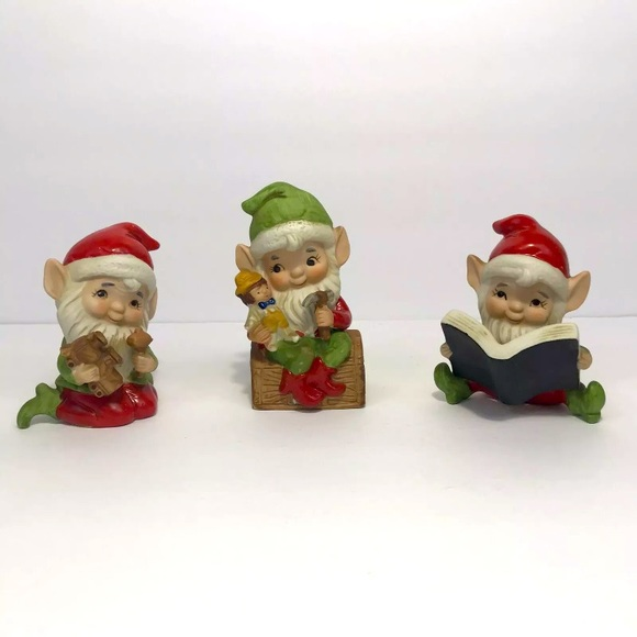 Vintage Set of 3 Homco Santa's Helpers Christmas